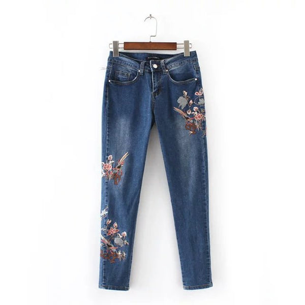 Woman Embroidery Denim Ankle-length Pants Casual Jeans with Embroidery