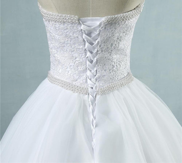 White Ivory Lace Strapless Wedding dresses Corset Bridal Ball Pearl Beads Tulle Wedding Gowns size 2-28W