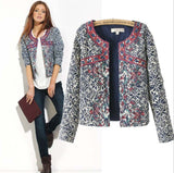 Fashion New Europe winter blue and white printed Women cotton Floral Slim Jacket Coat women embroidery slim outwear Blazer