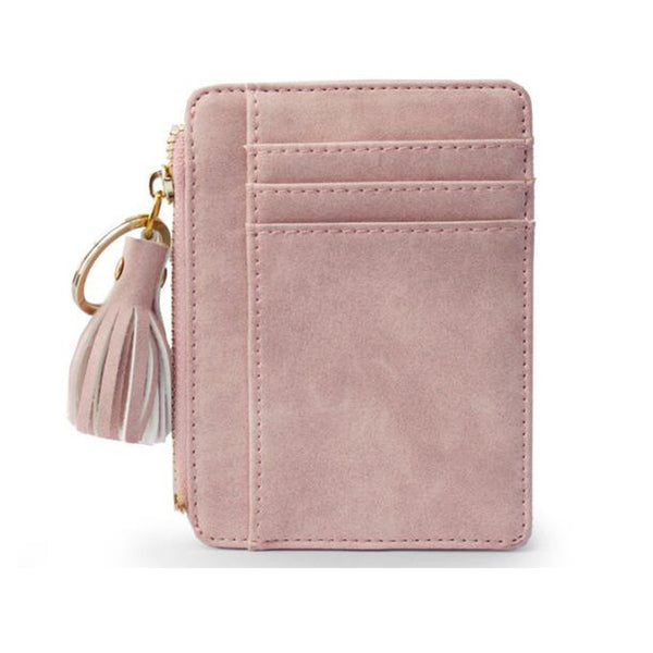 New Fashion Women Tassel Zipper Small Wallets Coin Pocket Clutch bag Women's Short Bag Pu Leather Credit Card ID Holders