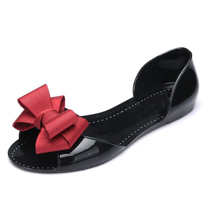 Women Flat Sandals Beach Jelly Shoes Woman Summer Bowtie Outdoor Slippers Slip On Sandalias Women Shoes Big Size 35-41 WSH2336