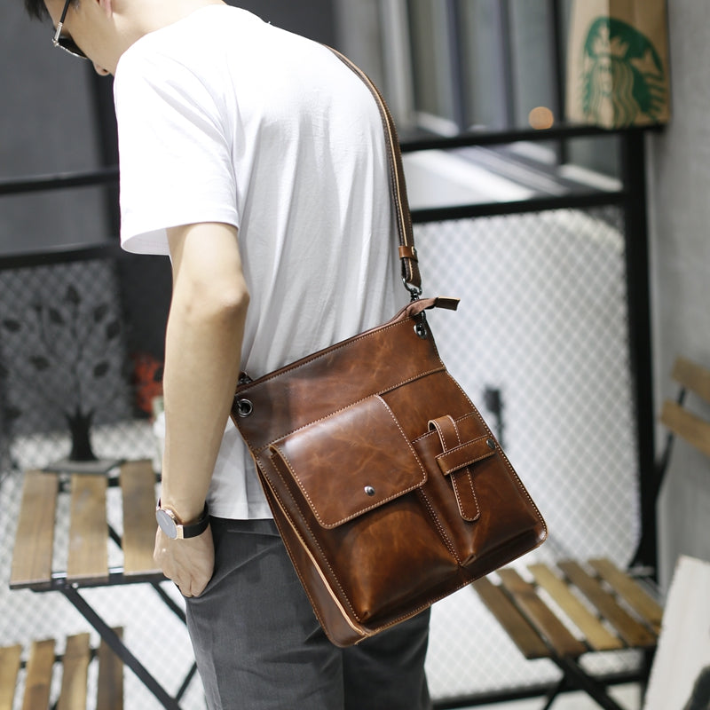 Vintage Crazy Horse PU Leather Men Bags Hot Sale Male Messenger Bag Man Fashion Crossbody Shoulder Bag Men's Travel New 2017 Bag