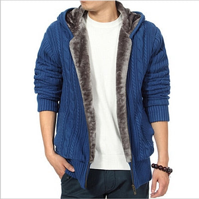 Thick Warm Fleece Lined Knitted Winter Male Cardigan Men Hooded Sweater Coat Black Olive Green Blue
