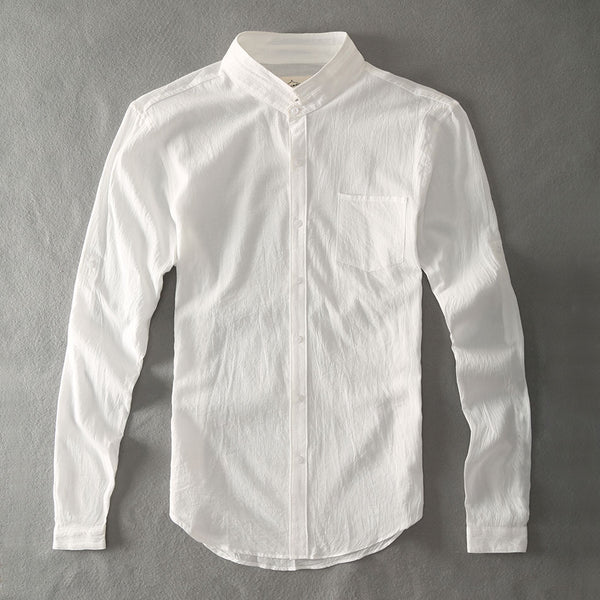 Cotton Linen Men Shirts White Grandad Chinese Collar Casual Shirts For Men
