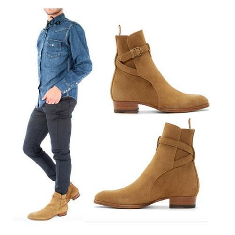 Men Suede Men Boots New Handmade Crepe Bottom Kanye West Boots Martin Shoes Nubuck Chelsea Boots Season Ankle Men Shoes