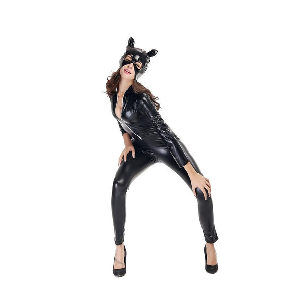 Adogirl Black Faux Leather Full Length Women Bodycon Bodysuits Sexy Costumes For Holloween Catwoman Costume Clothing