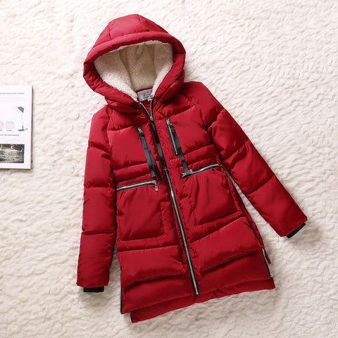 Winter Jacket Women Wadded Jacket Red Female Outerwear Plus Size Thickening Casual Cotton Wadded Coat Women Parkas F777