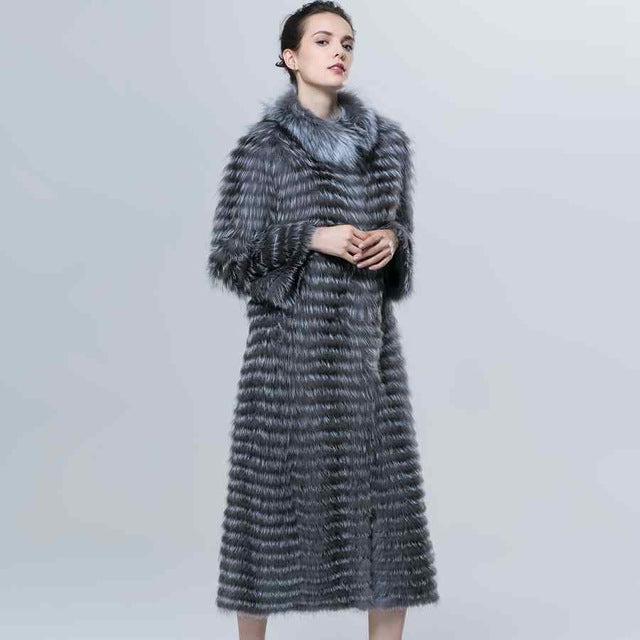 Autumn Winter Luxury X-Long Style Real Silver Fox Fur Coat Natural Color Fur Collar Stripped Syle Outerwear ZCW-18YL