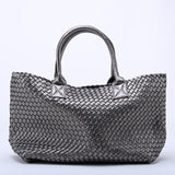 24 Colors Ladies Hight Quality Woven Leather Cross Stitch Hobo Handbag Women Large Woven bag Casual Tote