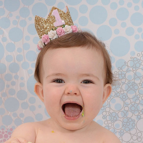 first birthday crown 1st Birthday Crown Cake Smash One Birthday Party Crown Glitter Party Headband One Birthday Outfit