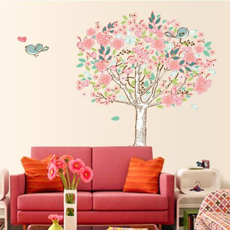 Free Shipping Pvc Cartoon Minstrelsy Love Bird Tree Wall Stickers Living Room Wall Background Romantic Home Decor