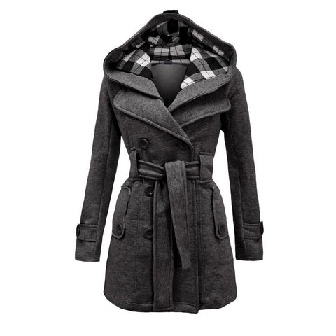 Autumn Winter New Plaid Hooded Belt Double-Breasted Long Coat Large Size Women's Imitation Woolen Coat Female Overcoat XXL,XXXL