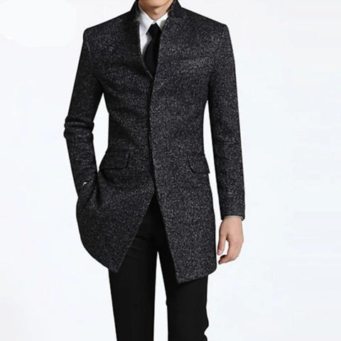 Spring Winter Men's business Long Coats casual wool trench coat overcoat Male fashion casual jacket Big size S-9XL Dark gray
