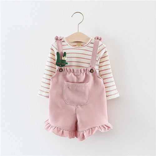 Long Sleeve T Shirt + Overalls Baby Clothing Sets Girl Cotton Striped Baby Girls Clothes Sets Spring Style