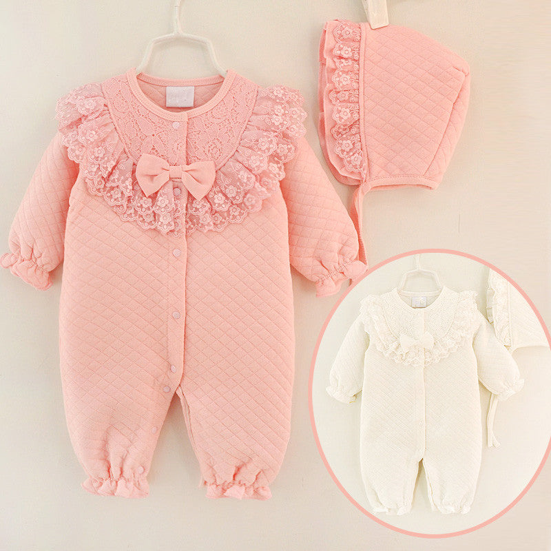 4883fba4414 Winter Newborn Baby Girl Clothes Cotton Thicken Coveralls Rompers Princess  Bow Girls Clothing Set Jumpsuit + ...