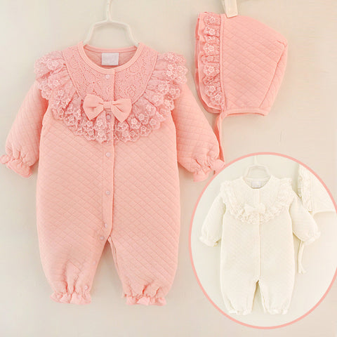 Winter Newborn Baby Girl Clothes Cotton Thicken Coveralls Rompers Princess Bow Girls Clothing Set Jumpsuit + Hats