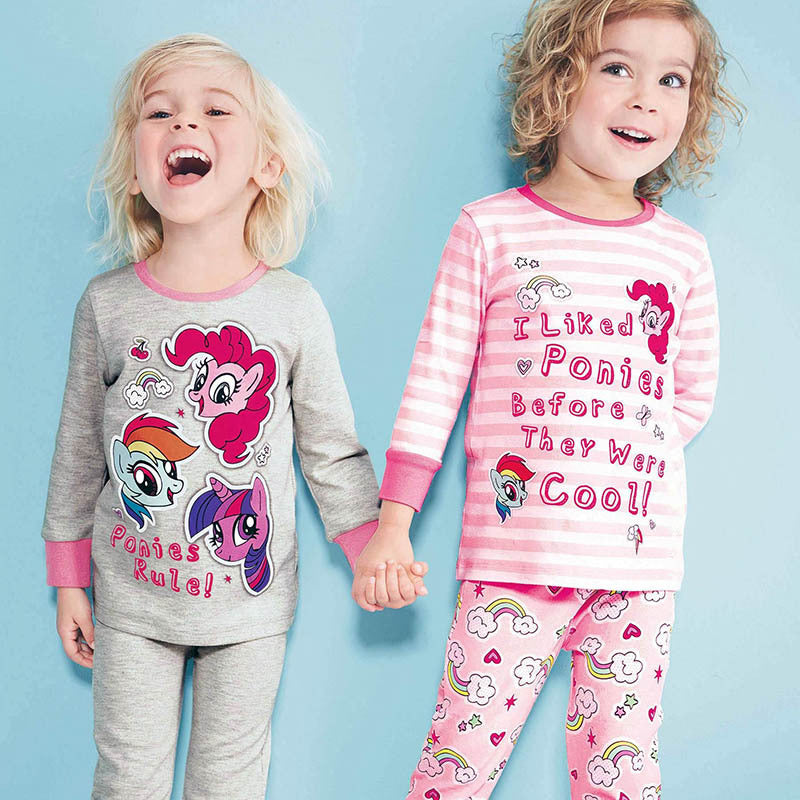 New Spring Baby Girls Pajamas Sets,Autumn Long Sleeve Sleepwear Cotton Kids Pajamas Sets Fall Children Clothes Sets 1-6 yrs