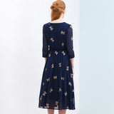 Autumn Chiffon Print Dress Casual Cute O-Neck Women Party Long Dresses Long Sleeve Vestido S-XXL