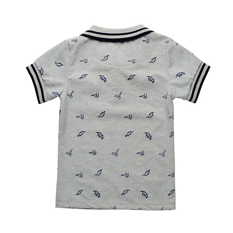 New Summer Dinosaur Boys T-shirts Cotton Kids Tops Sports Tee Turn-down Collar Boys Polo Shirts 2-7Y Children's Clothing