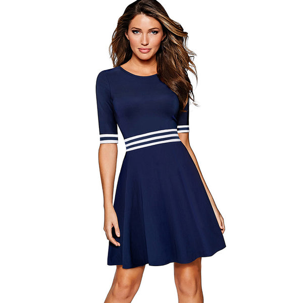 Nice-forever Vintage Striped Contrast Patchwork Causal vestidos Half Sleeve A-Line Pinup Business Women Flare Dress A059