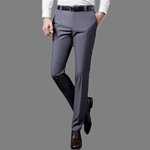 Luxury Mens Suit Pants Fashion Dress Pants Formal Business Male Casual Long Trousers Slim Fit Male Wedding Dress Mens Suit