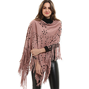 Autumn Fashion Tassel Scarves Women's Floral Pashmina Adult Large Fringed Batwing Sleeves Scarf