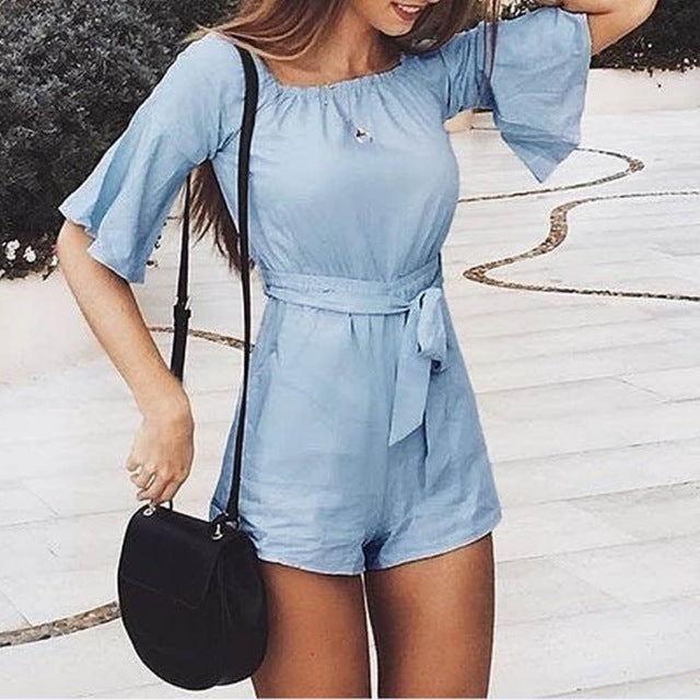 Summer Women Fashion Jumpsuits Solid Blue Short Sleeve Loose Sexy Slash Neck Lady Rompers