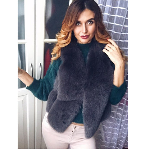 Natural Real Fox Fur Vest New Winter Short Thick Women Genuine Fur Vest Jacket Pockets Real Fur Vest Coats BF-V0118