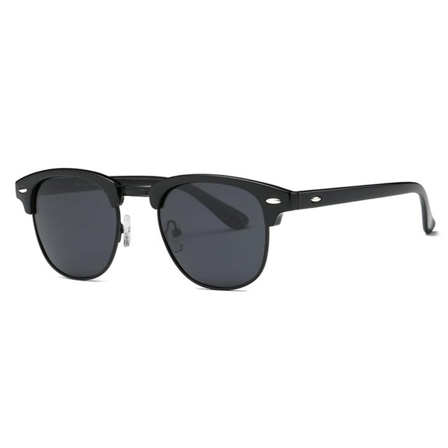 Polarized Sunglasses Men Retro Semi-Rimless Polaroid Lens Summer Style Brand Designer Unisex Sun Glasses AE0550