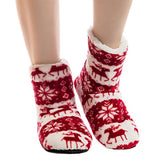 Winter Warm House Indoor Slippers  Lovely Christmas Reindeer  Pattern Plush Indoor Cotton Shoes  Sole Snowflake Floor Slippers