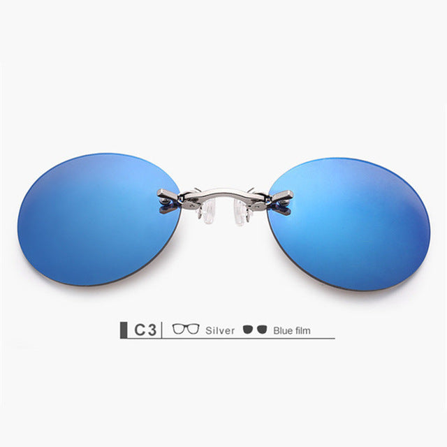 Fashion Clip On Nose Sunglasses Men Vintage Mini Round Sun Glasses Hacker Empire Matrix Morpheus Rimless Sunglasses UV400