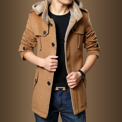 Trench Coats Men Winter Fashion Men Thick Jackets Fleece Slim Fit Hooded Trench Coat Long Casual Jackets Men Plus Size