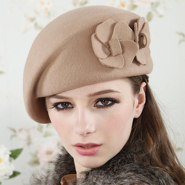 New Fashion Women Beret Hat For Women Beanie Female Cap Flower French Trilby Wool Soft Stewardess Hat gorras planas