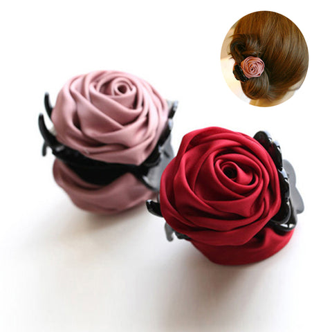 Rose Flowers Black Plastic Teeth Hair Claw Clips Exquisite Elegant Headwear For Women Girl Hair Accessories