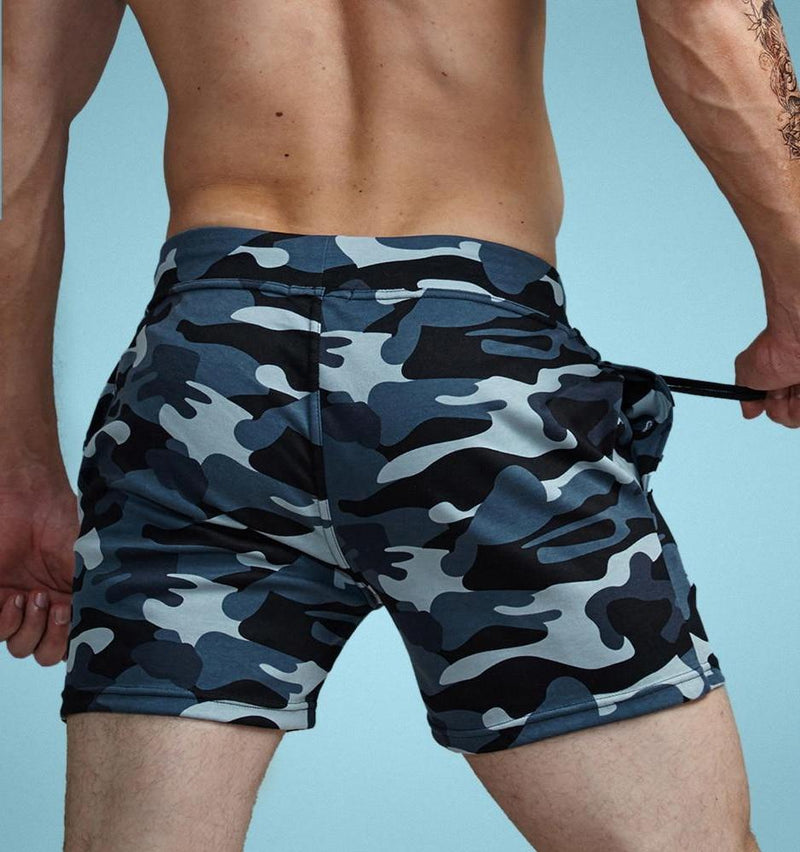 Aimpact Cotton Men's Jogger Short Leisure Workout Short With Pocket Casual Camouflage Man Elastic Waist Home Lounge Shorts PF73