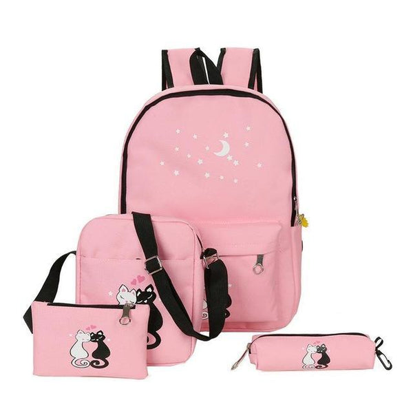 Famous Brand 4 Pcs/set Women Backpacks Cute Cat School Bags For Teenage Girls Printing Canvas Backpacks Ladies Shoulder Bags