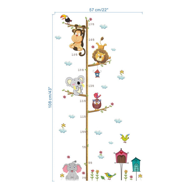 Jungle Animals Lion Monkey Owl Height Measure Wall Sticker For Kids Rooms Growth Chart Nursery Room Decor Wall Decals Art