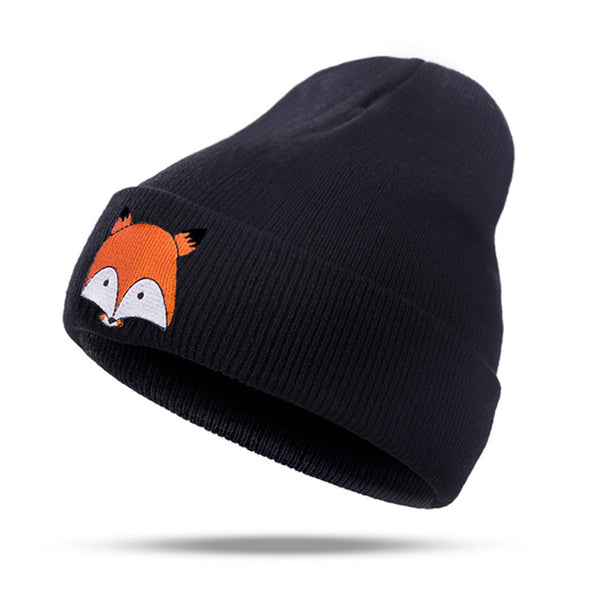 Warm Winter Hat For Women Knitted Womens Caps Girls Fox Pattern Hats Female Fashion Caps Ladies Knit Cap  Skullies