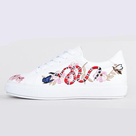 Spring Autumn Shoes Women Lace-up Embroidery Flat Shoes Women Fashion Designer Flower birds Casual Platform Shoes white