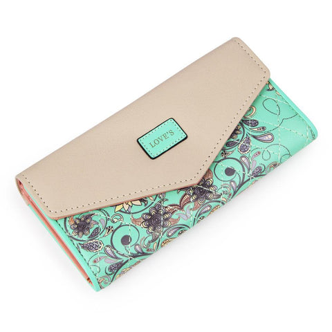 New Fashion Flowers Envelope Women Wallet Hot Sale Long Leather Wallets Popular Change Purse Casual Ladies Cash Purse