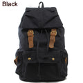 Fashion Vintage Leather military Canvas backpack Men's backpack school bag drawstring backpack women 2017 bagpack male rucksack