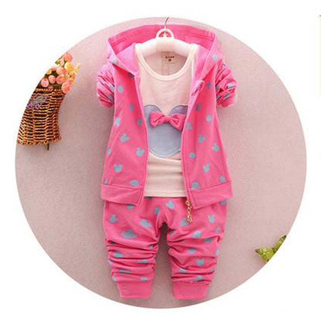 The little girl's clothes autumn and winter children's clothing suit / Hooded Jacket + T-shirt + trousers /3pcs Cotton 1-4y