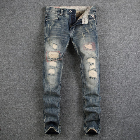 Fashion Designer Mens Jeans Destroyed Ripped Jeans For Men Casual Pants Slim Fit Brand Streetwear Stretch Biker Jeans Trousers