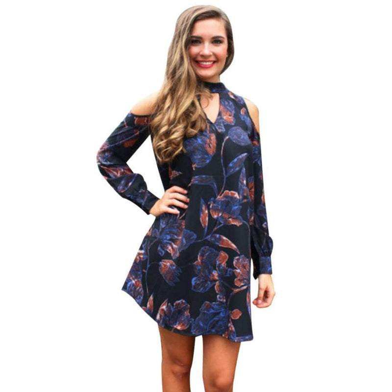 Feitong Brand Dress Women Strapless A-Line Long Sleeve Off Shoulder Printed Loose Large Size Mini Short Dress vestido de festa