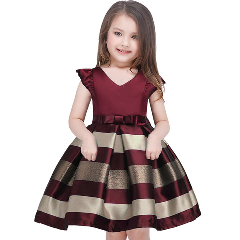 Girl dress New bow stripes princess dress of girls Baby girl reception formal dresses girl party dress  2017 Christmas clothes