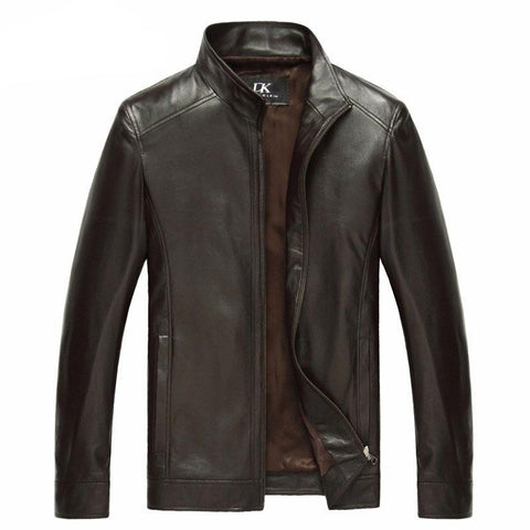 Luxury Genuine sheepskin leather jacket  Brand Dusen Klein men slim Designer spring leather coats Black/Brown 14B0109
