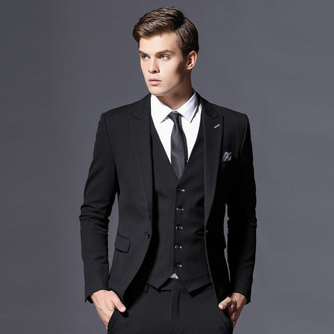 Mens Suit Jacket Formal Business Blazer Men Groom Three Pieces Slim Fit Party Clothing Single Button Wedding Dress