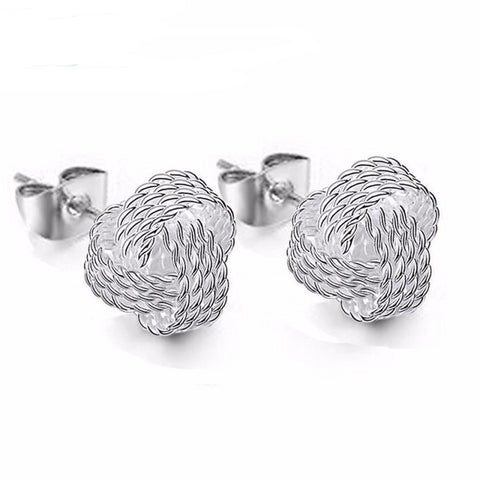 Earrings Net knot ring earrings Simple Fashion Ball Slide Silver Plated Ear Stud Earrings Women Jewelry
