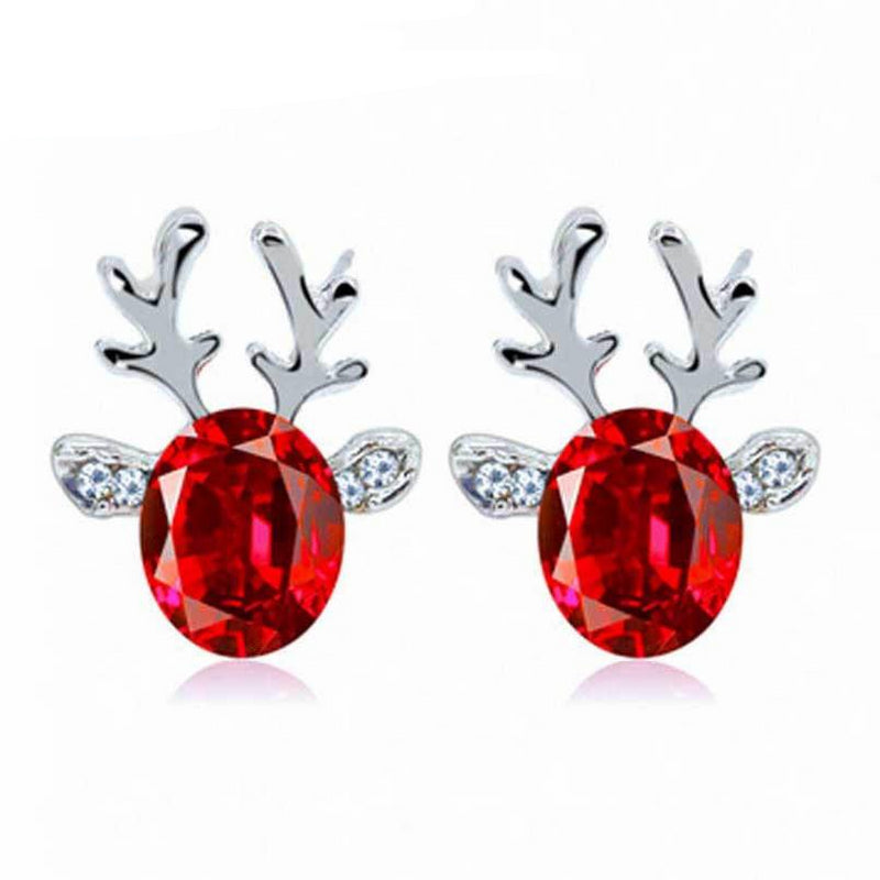 Crystal Earrings luxury three dimensional Christmas reindeer eating