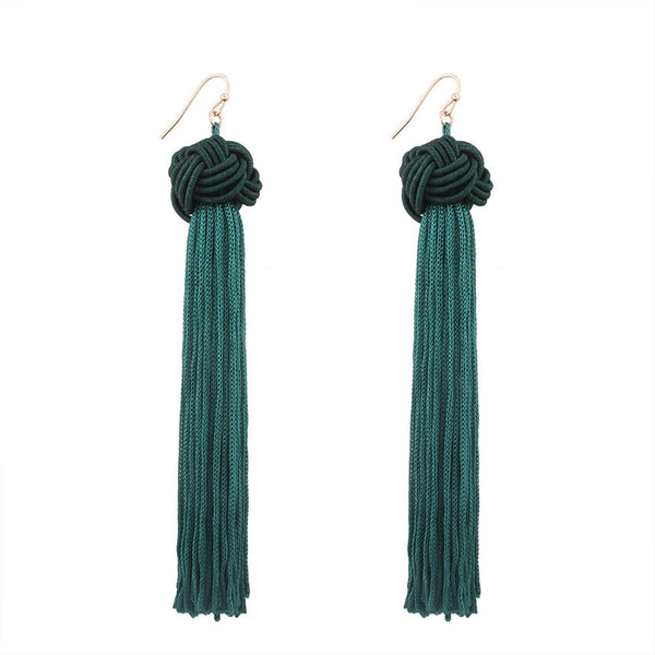 Vintage Women Bohemian Fashion Weave Tassel Earrings Long Drop Earrings Jewelry Ball long Tassel Earrings #30